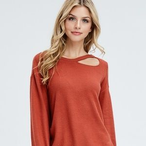 burnt orange cold shoulder sweatshirt long sleeve